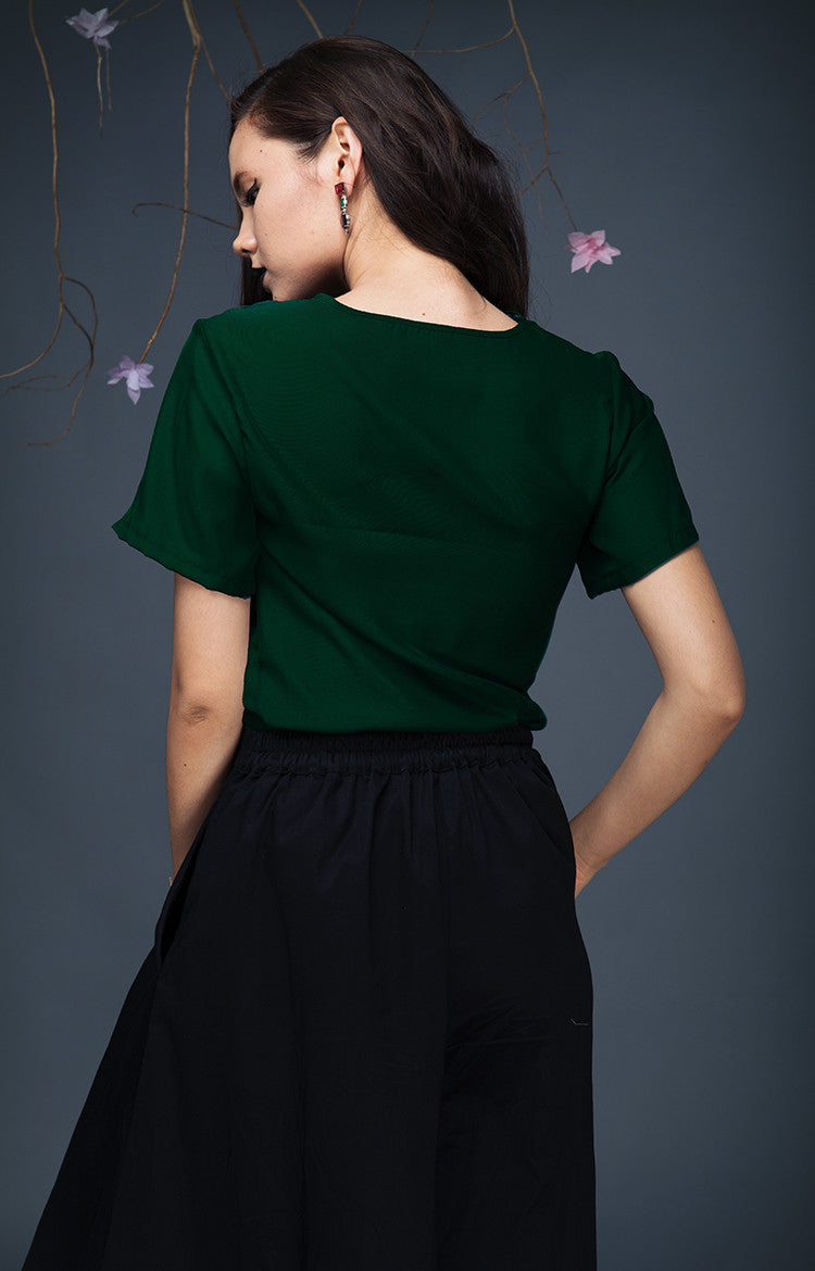 Short Sleeved Top-Evergreen