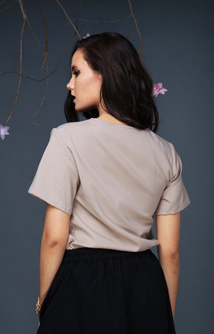 Short Sleeved Top-Mocha
