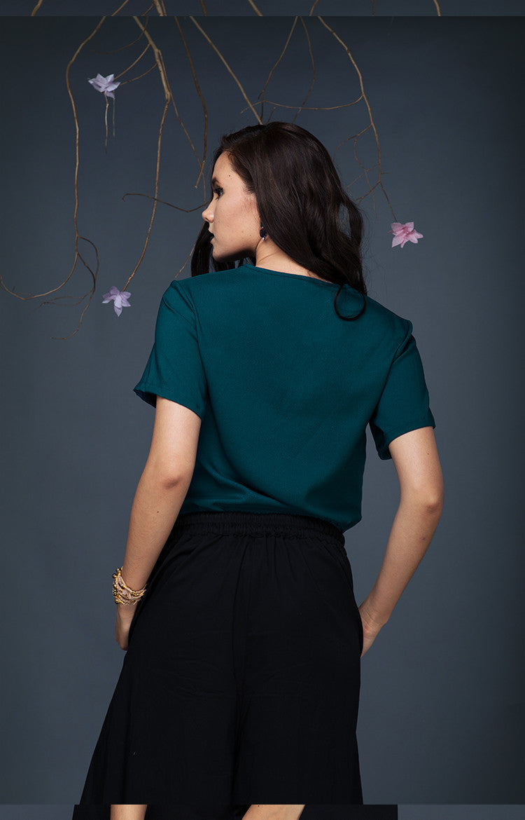 Short Sleeved Top-Teal