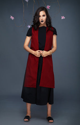 Tailored Long Vest-Maroon