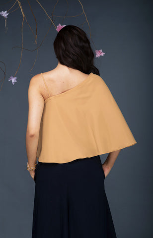 Asymetric Flounce Top-Gold