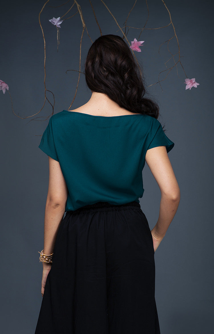 Boat Neck Top-Teal