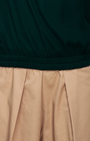 Bell Sleeve Gartered Bardot-Evergreen