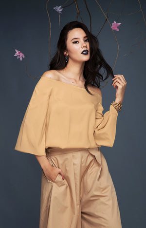 Bell Sleeve Gartered Bardot-Gold