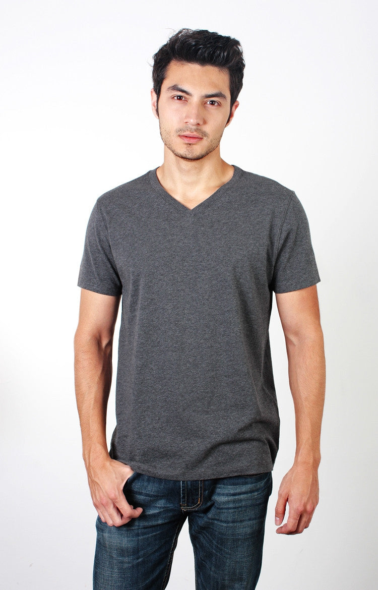 Men's S/S V-Neck Tee - Heather Oatmeal