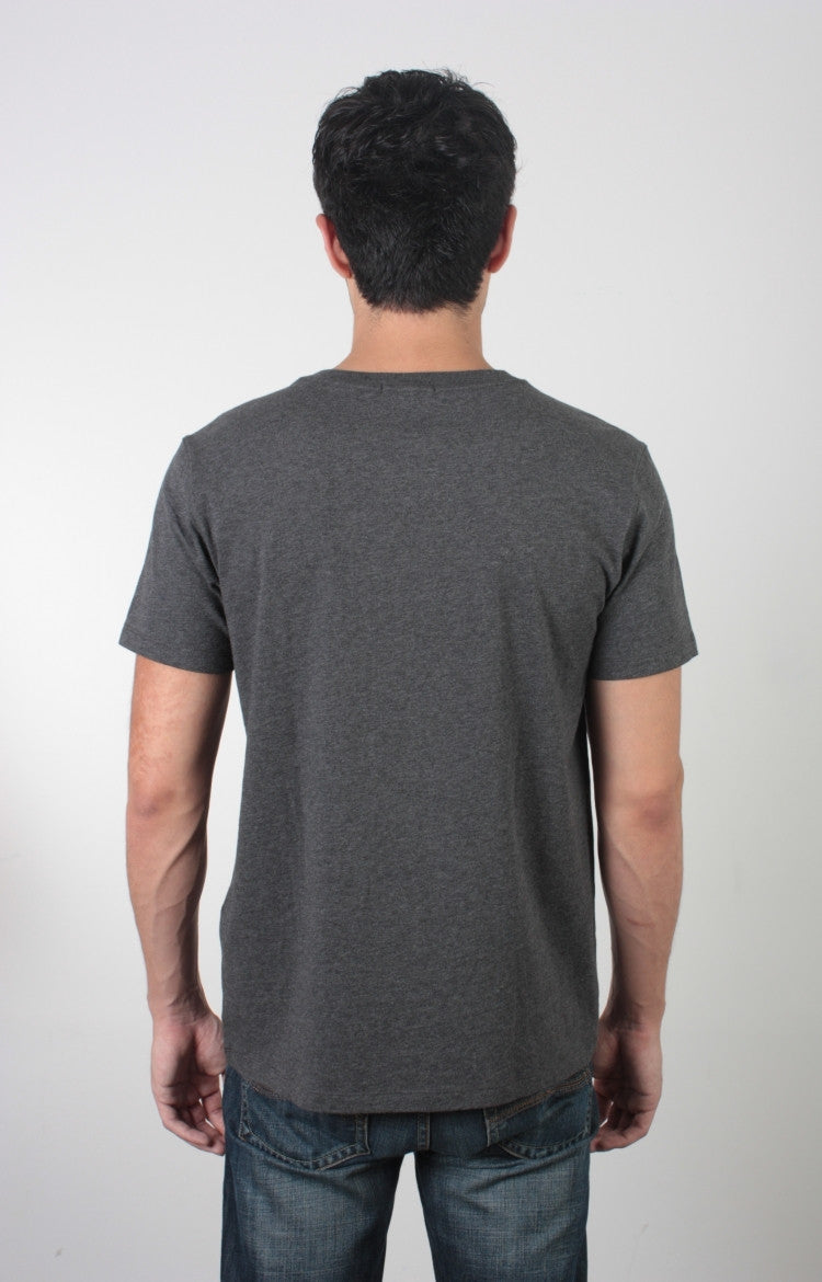 Men's S/S V-Neck Tee - Heather Charcoal