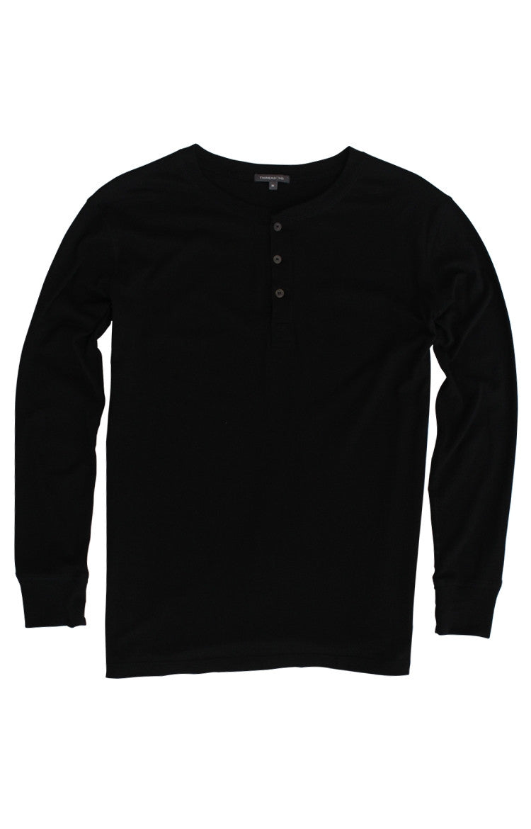 Thread 365 Men's L/S Henley - Basic Black
