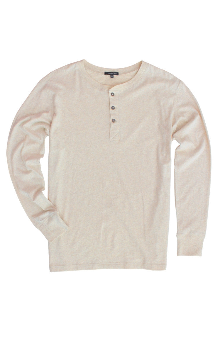 Thread 365 Men's L/S Henley - Heather Oatmeal