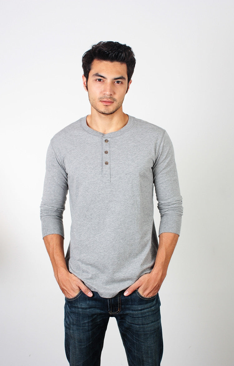 Men's L/S Henley - Heather Grey