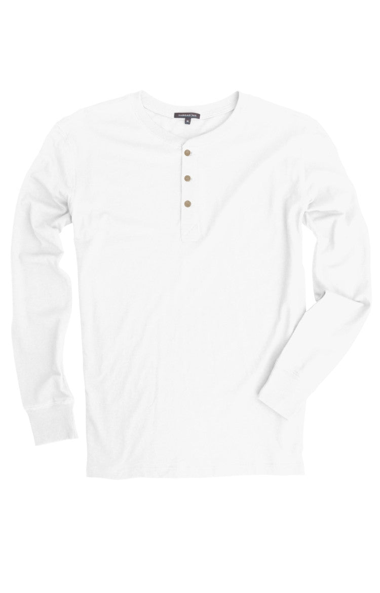 Thread 365  Men's L/S Henley - White