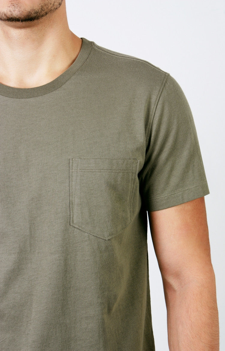 Men's S/S Pocket Crewneck Tee - Heather Oatmeal