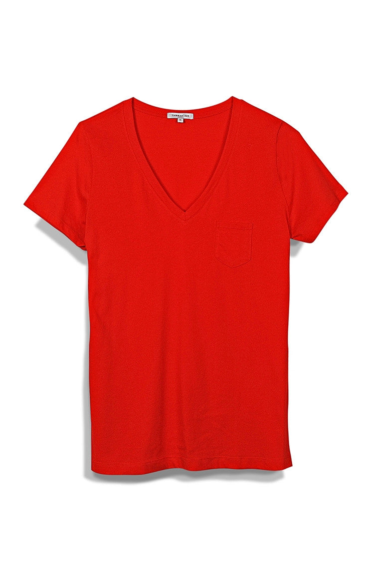 Thread 365 Women's Pocket V-Neck - Fiery Red