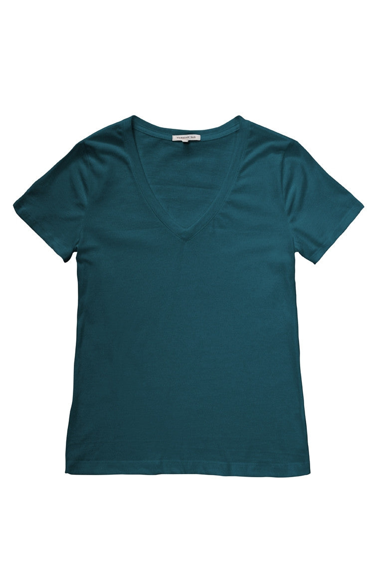 Thread 365 Women's S/S V-Neck Tee - Teal