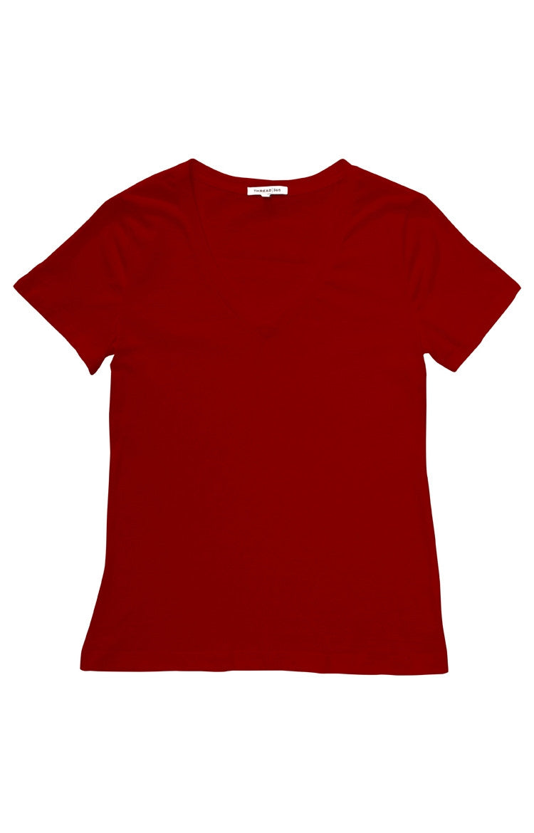 Thread 365 Women's S/S V-Neck Tee - Red