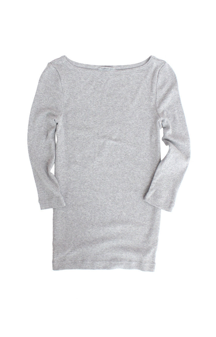Thread 365 Women's 3/4 Bateau Tee - Heather Grey