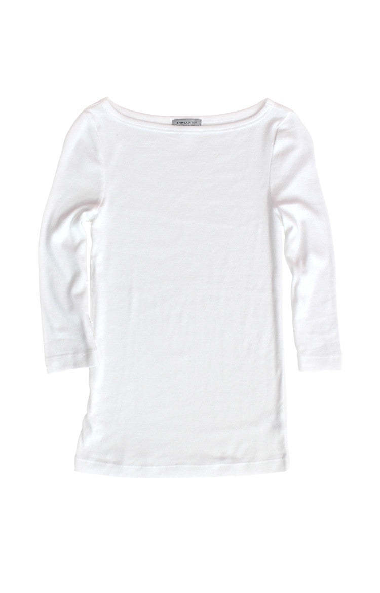 Thread 365 Women's 3/4 Bateau Tee - White