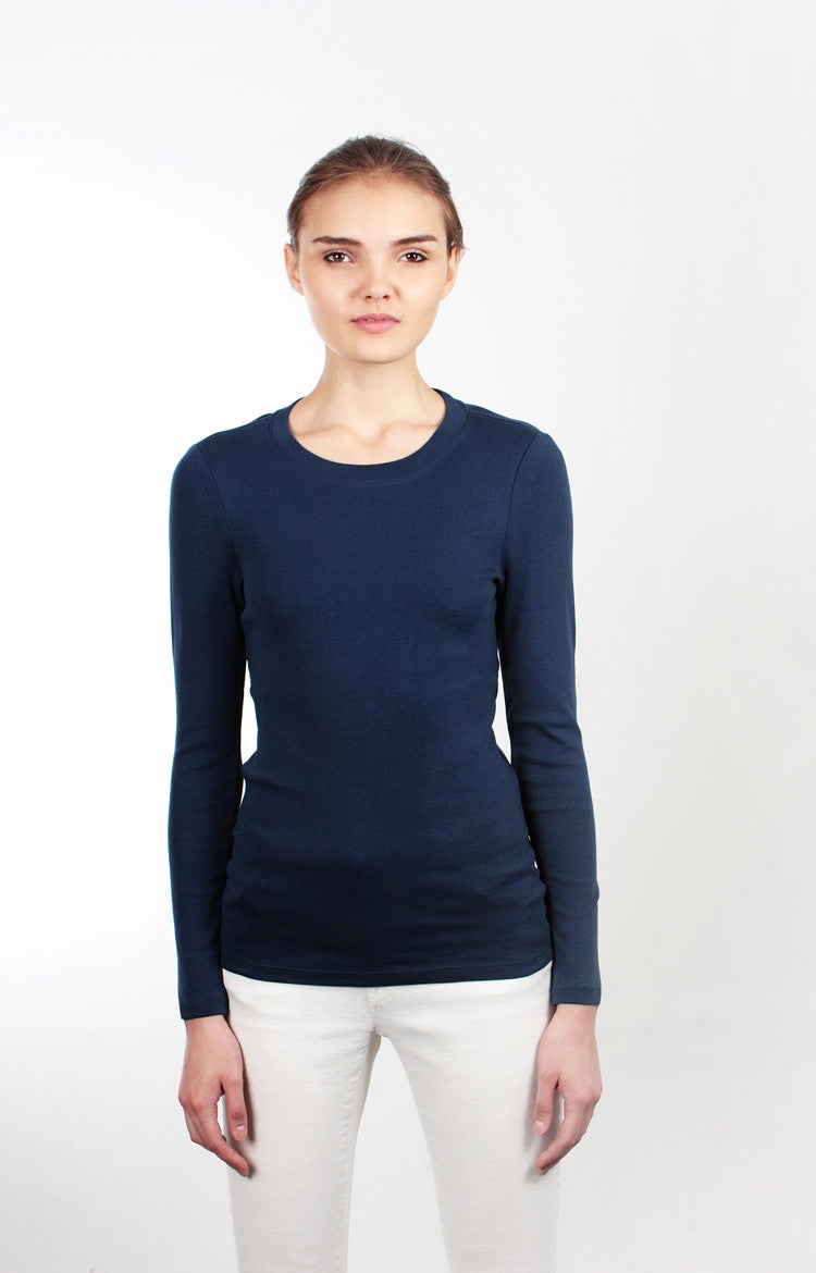 Women's L/S Crewneck Tee - Basic Black