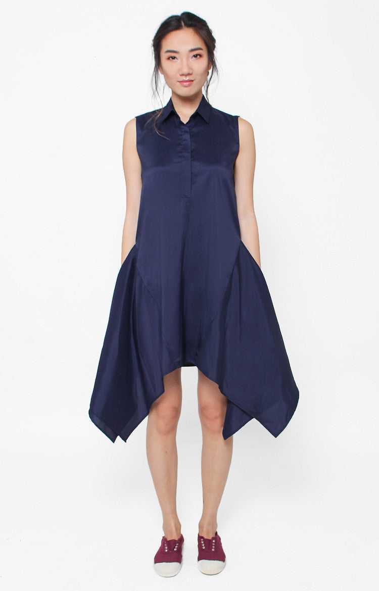 Isadora Sleeveless Dress- Navy