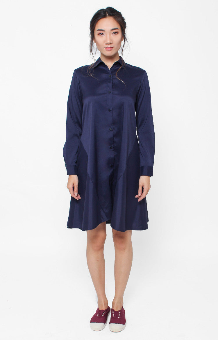 Marceline LS Dress- Navy