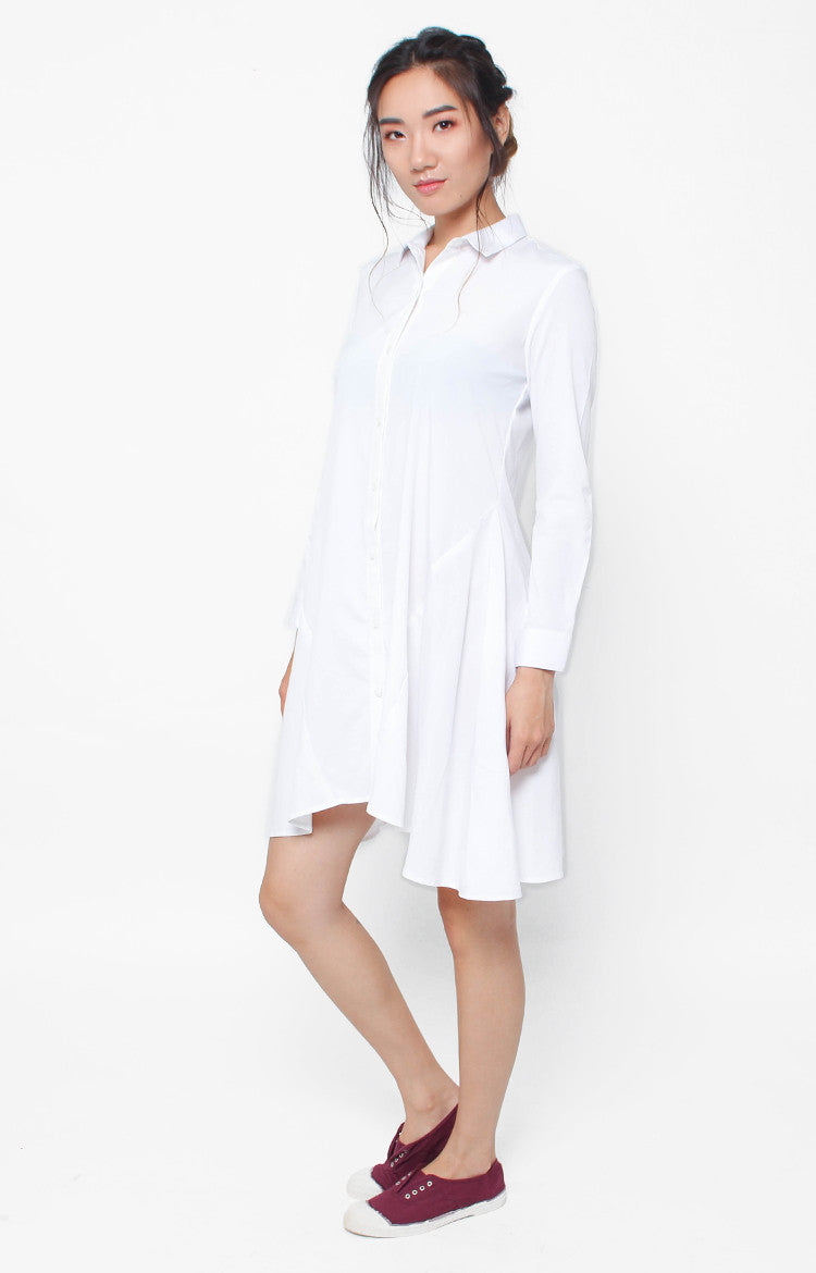 Marceline LS Dress- White