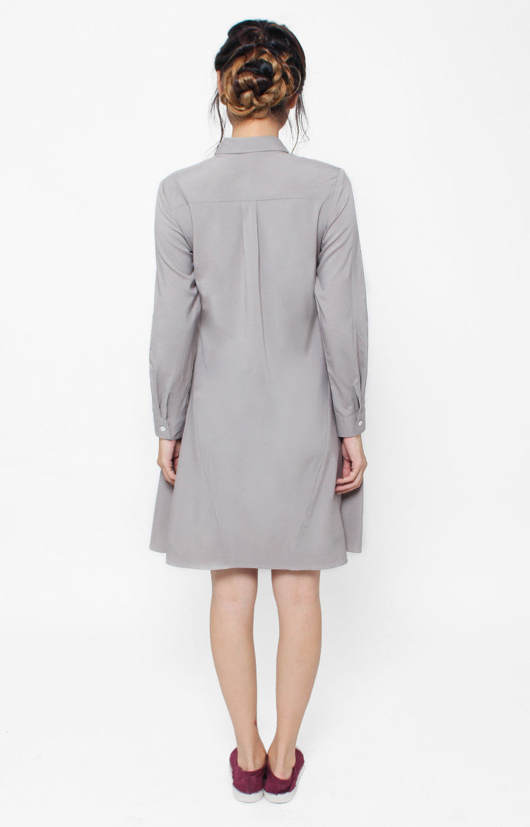 Marceline LS Dress- Gray