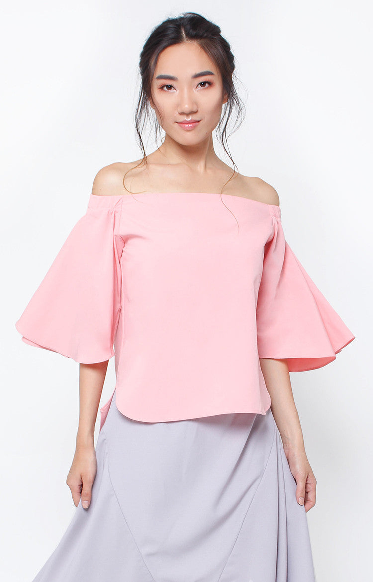 Olivia Offshoulder Top- Blush