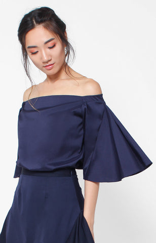 Olivia Offshoulder Top- Navy