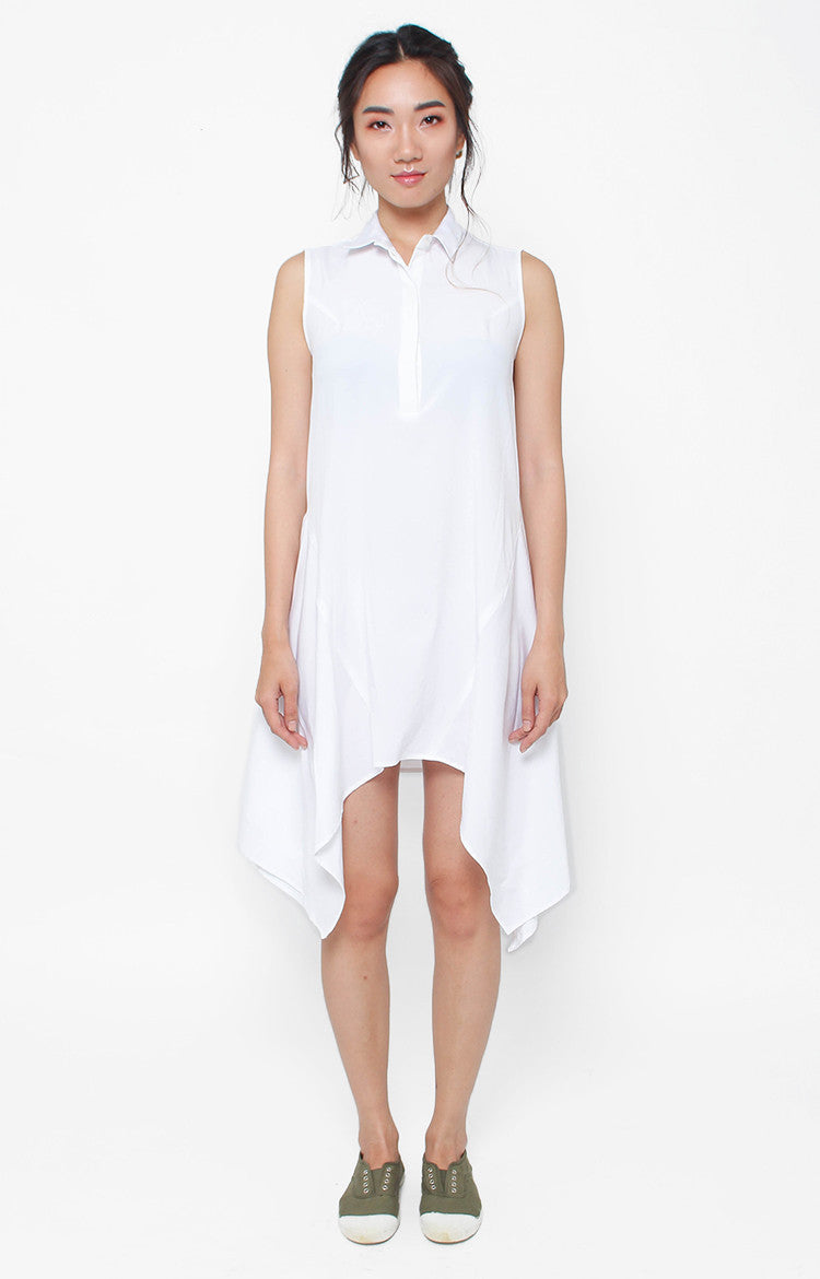 Isadora Sleeveless Dress- White