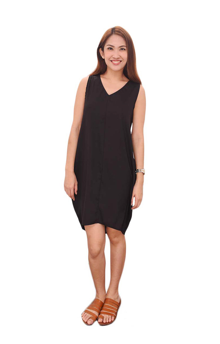 V- Neck Dress in Black