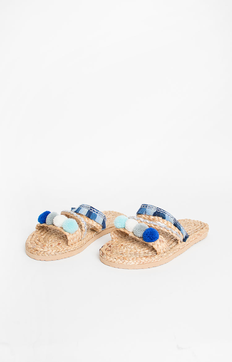 Pompom Flats in Blue 2