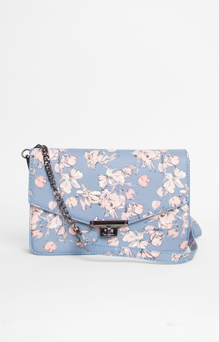 Floral Print Chain Bag in Periwinkle Blue