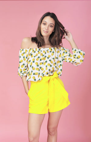 Scallop Shorts-Yellow