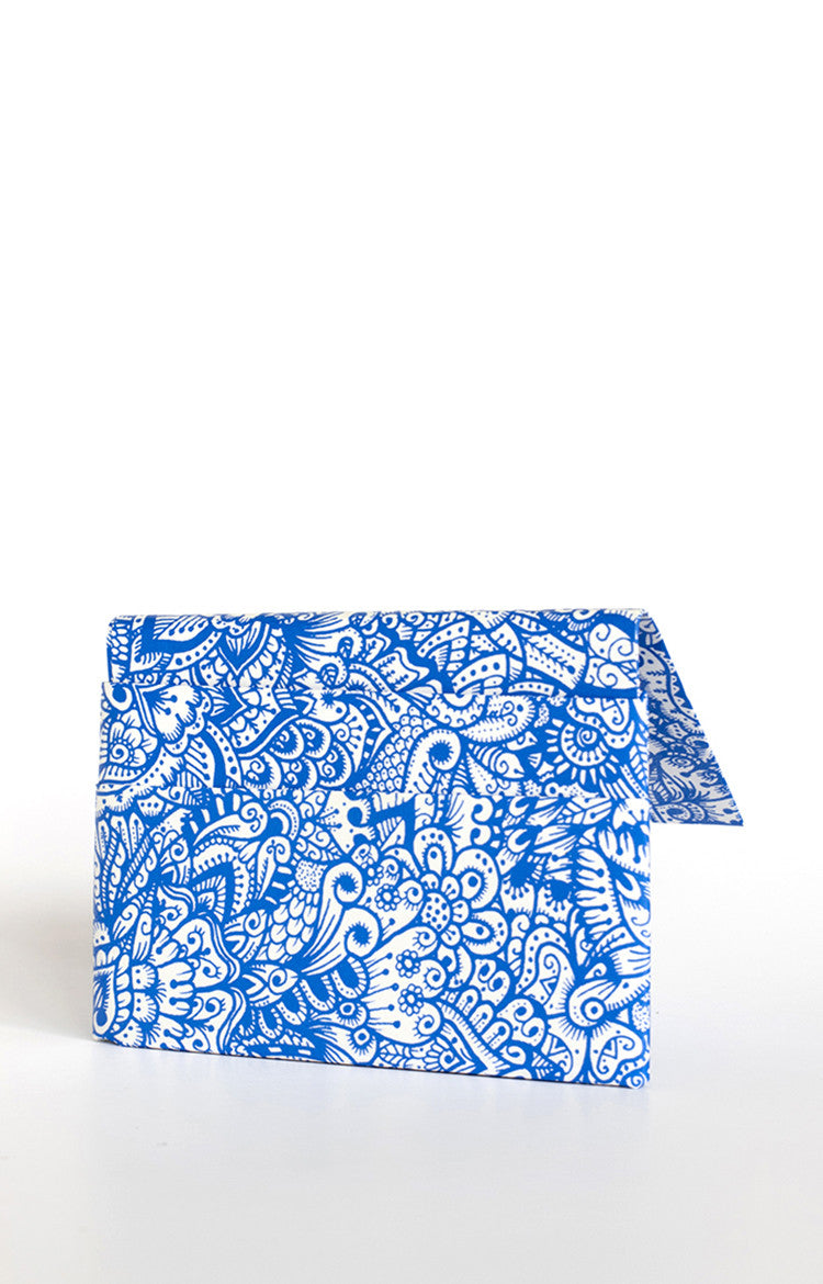 Quick Flip Wallet - Blue Zentangle