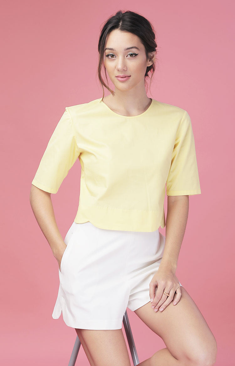 Scallop Top-Yellow