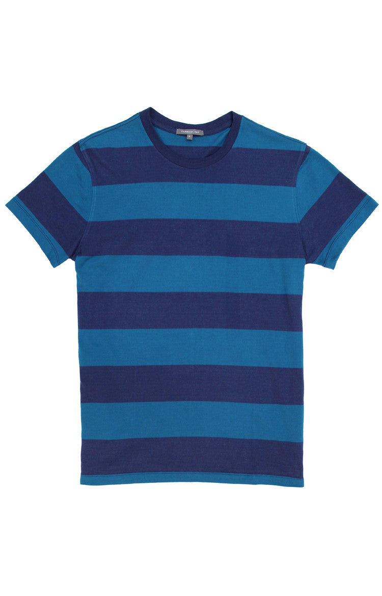 Thread 365 Men's S/S Striped Crewneck Tee - Teal