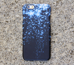 Blue Glitter Style iPhone XR 6 Case Dancing Stars Galaxy S8 S6  Note 3 Case Sparkly iPhone 8 SE  Case 021 - Apple iPhone Xs/iPhone Xr case by Retina Designs