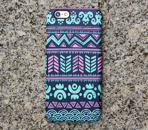 Turquoise Aztec Tribal iPhone XR Case | iPhone XS Max plus Case | iPhone 5 Case | Galaxy Case 3D 034 - Retina Designs