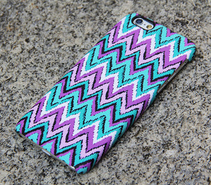 Turquoise Chevron iPhone XR case iPhone XS Max plus Case Violet  SE  4 Case Samsung Galaxy S8 S6  S3 Case 039 - Apple iPhone Xs/iPhone Xr case by Retina Designs