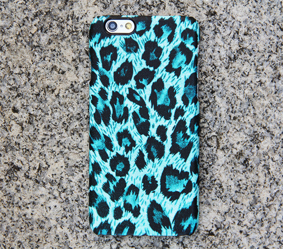 Turquoise Leopard iPhone 6s 6 Case iPhone 6 plus Case Black iPhone 5S 5 iPhone 5C iPhone 4S Case Galaxy S6 edge S6 S5 S4 S3 Note 3 Case 054