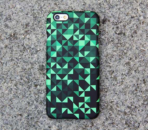 Optical Illusion iPhone XR 6 Case Triangle Black iPhone XS Max Plus Case Turquoise Geometric  SE iPhone 4 Case Samsung s6 case 06 - Retina
