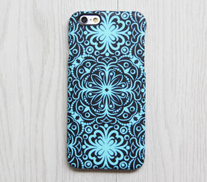Turquoise Floral iPhone XR case iPhone XS Max plus Ethnic iPhone 8 SE  Case Retro Samsung Galaxy S8 S6  Case 079