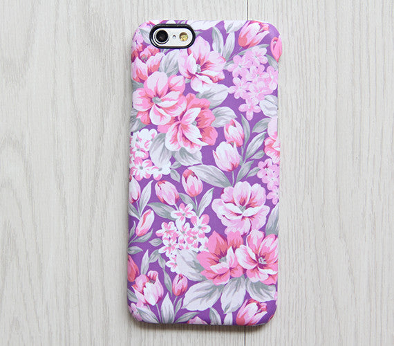Classy Violet Pink Floral iPhone XR case iPhone XS Max plus Ethnic  SE  Case Samsung Galaxy S8 S6  Case 080 - Apple iPhone Xs/iPhone Xr case by Retina Designs