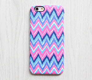 Pink Blue Chevron iPhone XR Case iPhone XS Max plus Ethnic iPhone 8 SE  Case Colorful Samsung Galaxy S8 S6  Case 081