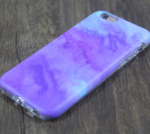 Abstract Watercolor Purple Tough Protective iPhone XS Max Case Galaxy S8 plus S7 Edge SE Snap Case 3D 206 - Retina Designs