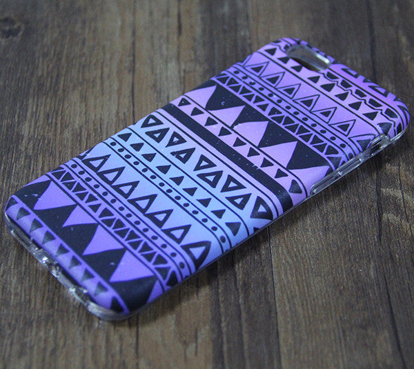 Tribal Violet Turquoise Print Tough Protective iPhone XS Max Case Galaxy S8 plus S7 Edge SE Snap Case 3D 208