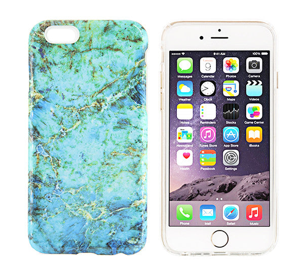 Turquoise Marble Stone Print Tough Protective iPhone XS Max Case Galaxy S8 plus S7 Edge SE Snap Case 229 - Apple iPhone Xs/iPhone Xr case by Retina Designs