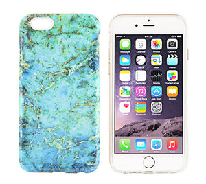 Turquoise Marble Stone Print Tough Protective iPhone XS Max Case Galaxy S8 plus S7 Edge SE Snap Case 229