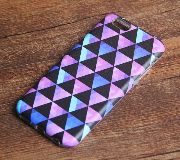 Pink Black Triabgle Geometric Tough Protective iPhone XS Max Case Galaxy S8 plus S7 Edge SE Snap Case 232 - Apple iPhone Xs/iPhone Xr case by Retina Designs