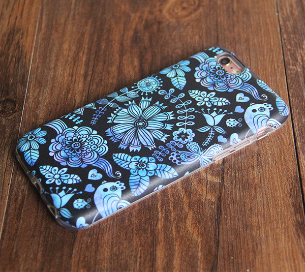 Black Turquoise Floral Tough Protective iPhone 6s Case iPhone 6 plus S7 Edge SE Snap Case 235