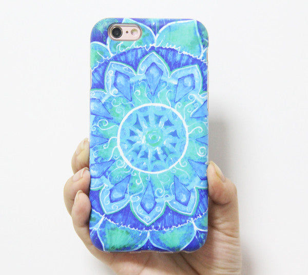 Turquoise Datura Floral Print Tough Protective iPhone 6s Case iPhone 6 plus S7 Edge SE Snap Case 237